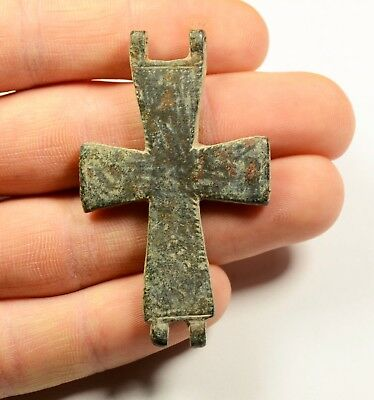 Ancient Byzantine Bronze Cross - Encolpion- Religious Artifact