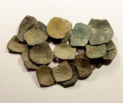 Lot Of 18 Ancient Byzantine Cup Coins For Identifying