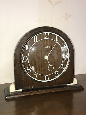 Smiths Art Deco 1930's 8 Day Mantel Working Wood Clock