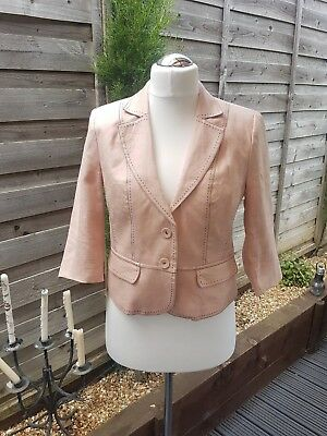 Next Pink Tailored Linen Jacket Petite Size 14