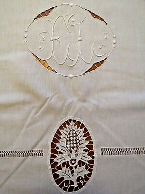 Antique Sheet French Embroidered Needle Lace Metis Linen Blend Cotton White