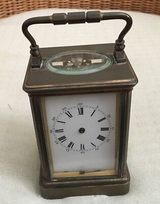 Antique French 8Day Bronze Carriage Mantel Clock C1900 Cylinder Platform Balance