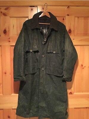 Rare Barbour Men's Burghley Vintage Wax Trench Jacket Size L