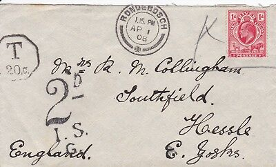Orange River Colony 1908 Ronderbosch Postage Due Cover, Undepaid 1D To England