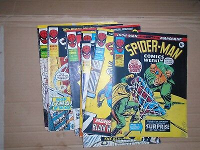 Spiderman Comics Weekly mixed lot of  7 rough copies Marvel UK