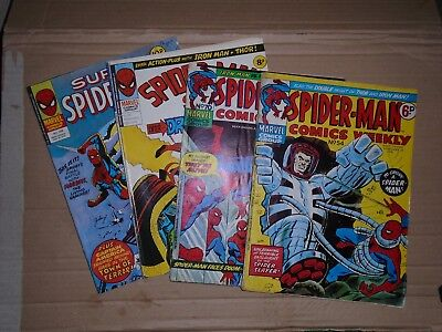 Spiderman Comics Weekly mixed lot of  4 rough copies Marvel UK