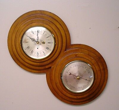 Very Unusual Key Wind Wall Clock and Barometer Works Great