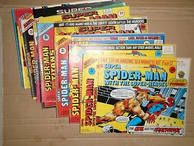 Super Spiderman mixed lot of  11 rough copies Marvel UK