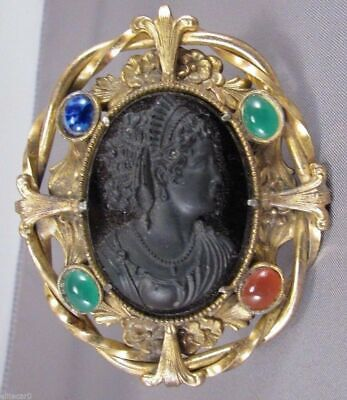 Vintage Cameo Brooch Unique Thick Large Poured Glass Egyptian Revival Queen
