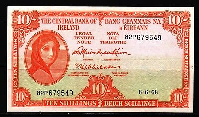 Ireland - 1968 Central Bank 10  Shillings P63 Banknote  XF Condition