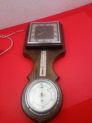 vintage smith and seciric electric clock and barometer