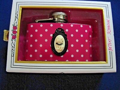 Adorable NEW Betsey Johnson Polka Dot Flask, Shih Tzu Puppy Cameo - Orig $35!