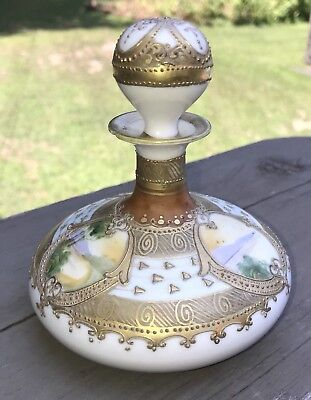 Lovely 1891 Antique Nippon Scent Bottle~Hand Ptd. Maple Leaf Mark~Gold Encrusted