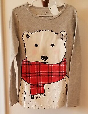 Carters Girls Size 8  Heather Gray Polar Bear Red Scarf L/s Shirt