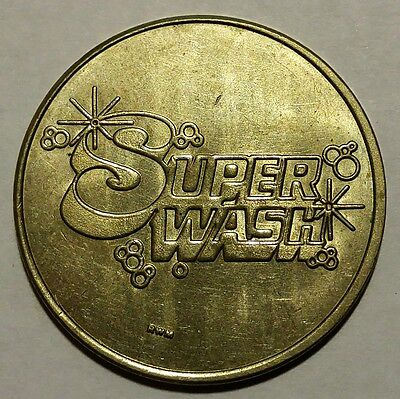 White Metal SuperWash Car Wash Token 28mm No Reserve!