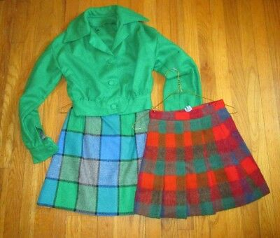 Lot Of Vintage Girl's Wool Plaid Skirts And Jacket Set