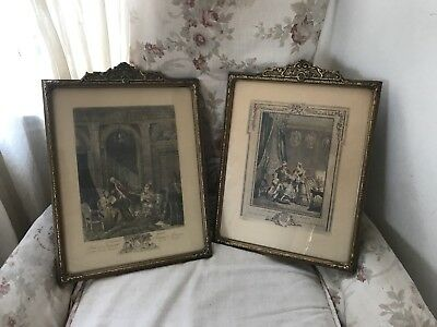 Pair Of Antique French Prints .. Original ornate frames Ca Late 1800s