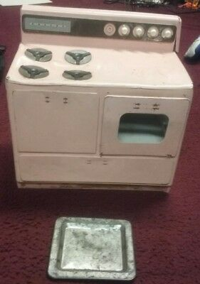 """Vintage 1950's Nassau Toy pastel Pink Stove Lithographed Tin 12"""" tall decor"""