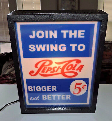 "Rare Pepsi-Cola Advertising Lighted Black Case Sign ""  Nice """