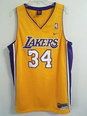 f6088a8f24a VTG Nike Los Angeles Lakers Shaquille Oneal Shaq Swingman Jersey Gold Men L  Kobe