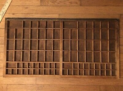 "Vintage Large Wood Printers Tray Type Case 32"" x 16"" With 92 box No Shadow Box"