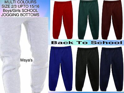 Girls Boys Kids Jogging Bottoms School PE Fleece Tracksuit Trousers Age 3Y-16Y