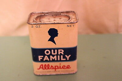 Antique Our Family Advertising Spice tin Allspice Old Kitchen Decor Silhouette