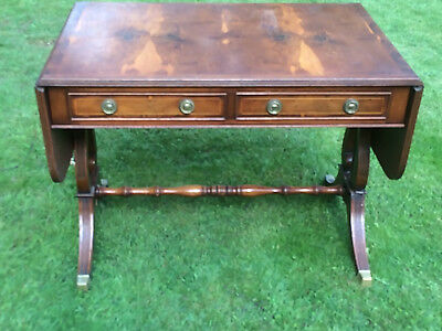 Drop leaf extending yew repro side table with drawers