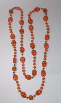 Vintage Art Deco Egyptian Revival Czech Orange Scarab Necklace - Max Neiger?