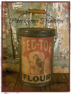 """Primitive Farmhouse Dairy 13"""" Can Upcycled Red Top Flour General Store Prop"""