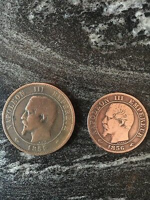 1856 and 1855 VINTAGE ANTIQUE FRENCH FRANCE COINs NAPOLEON III EMPEREUR