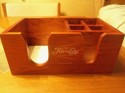 Flor De Cana Rum Solid Wood Napkin Holder Brand New In Box