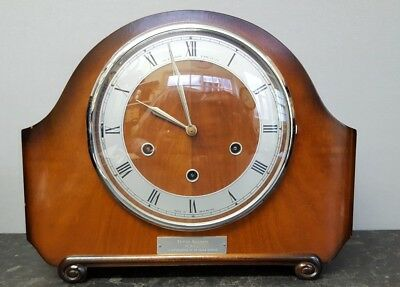 Vintage 8 Day Smiths Westminster Chiming Mantle Clock with Floating Balance