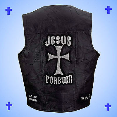 --CHRISTIAN THEME--Leather Motorcycle Biker Vest-JESUS FOREVER-Men's Size 2X
