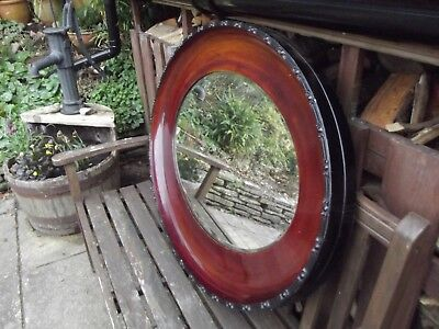 Antique bevelled oval mirror mahogany frame large