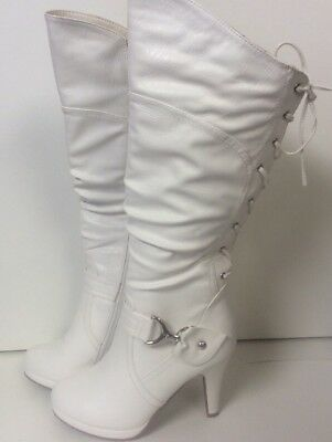 43d1c1f6c6a Top Moda Women s White Knee High Round Toe Lace-up Slouched High Heel Boots  Sz