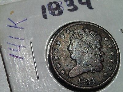 1834 half cent  G+  Or VG,  SCARCE, only 141 K minted
