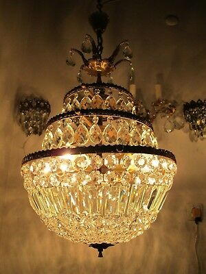 Antique Vnt French Big Basket Bohemia Crystal Chandelier Lamp 1940s 17in diamt