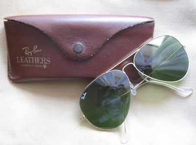VINTAGE RAY-BAN BAUSH & LOMB CRAFT LEATHER  AVIATOR 62mm CASE SUNGLASSES LARGE
