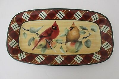 "Lenox WINTER GREETINGS Everyday Tartan 14"" Bread Tray Serving Platter"