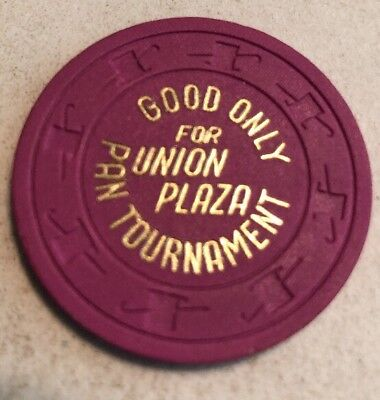 Union Plaza Pan Tournament $1 Casino Chip Las Vegas Nevada 2.99 Shipping