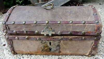 Antique Victorian Old Wood & Paper Cash Box Jewelry Chest Brass Hardware &Rivets