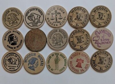 Wooden Nickels Tokens Mixed Lot