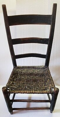 1800s Ladder Back Chair with Rush Seat