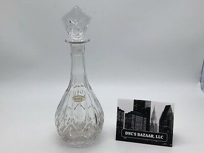 Block Crystal Decanter w/ Crystal Stopper Made In Poland
