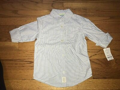 Carters Toddler Boys Blue Button Down Shirt 4t New!