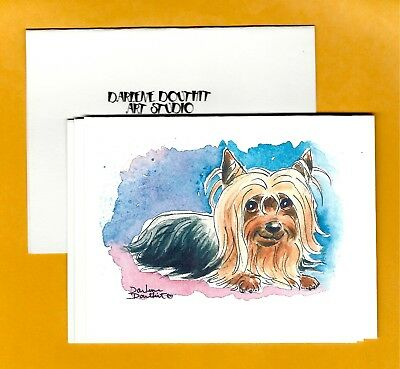 YORKIE LAYING 4 Note Cards FREE Shipping~ Printed from My Original Art Work