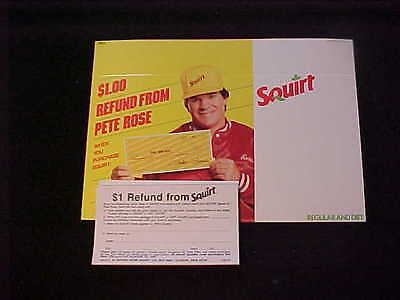 Squirt Soda $1 Pete Rose Refund Shelf Display Card W/tear Pad