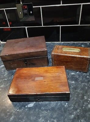 OLD Antique wooden boxs , job lot of 3 , sewing box , church box