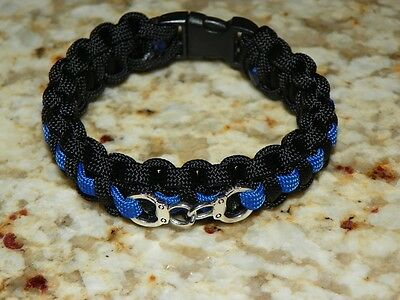 "Thin Blue Line /""Backwood Paracord/"" Survival Bracelet Police Handcuff Charm"